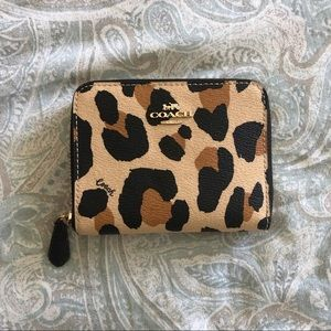 NEW Coach Leopard Zip Small Wallet